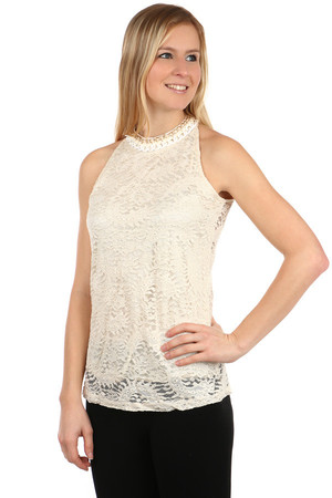 Women's elegant top with lace. Transparent at the back and with button fastening. Variants with different decoration