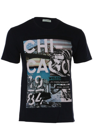 Men's t-shirt with print and short sleeves. Material: 95% cotton, 5% polyester