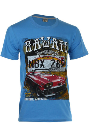 Men's t-shirt with colored print and short sleeves. Material: 100% cotton
