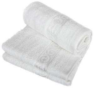 Quality terry towel in warm colors with a modern pattern. High suction ability. With practical hanging loop. Weight: 475 g /