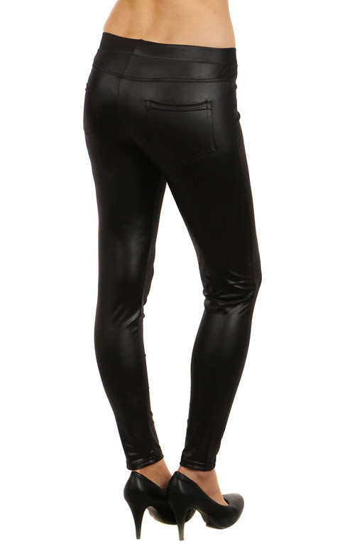 Women's shiny leggings with decorative zippers