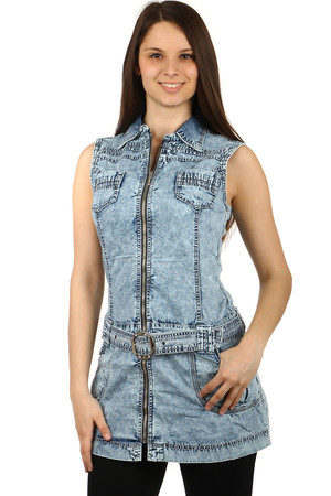 Women's denim zipper dress. Waist belt. Front and rear pockets. Material: 95% cotton, 5% elastane.