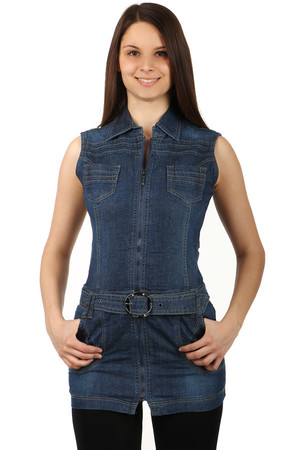 Sleeveless stylish jeans dress with zip fastening. Belt included. Material: 95% cotton, 5% elastane.