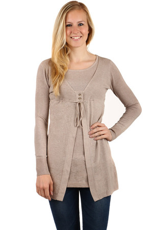 Interesting 2in1 sweater. Two buttons and drawstring. Material: 50% viscose, 45% nylon, 5% silk