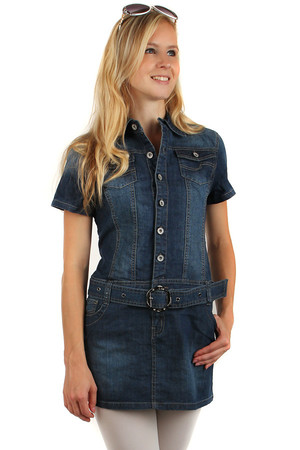 Women's denim short sleeve dress. Button fastening. Waist belt. Front and rear pockets. Material: 95% cotton, 5%
