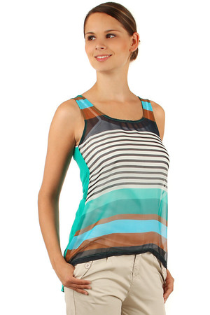 Women's loose tank top with strips on the front. Rear, longer part is monochrome. The vest has a round neckline and wide