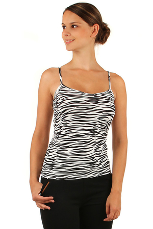 Women's Tank Top with Animal Pattern. Narrow shoulder straps, round neckline. Very pleasant material for hot days.