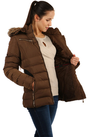 Women's winter jacket with belt and fur on the hood. The hood can be unfastened or only the fur removed. Suitable for