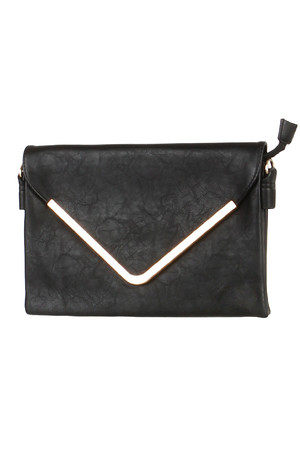 Larger clutch or small purse with gold border. Also included is a short loop and a long adjustable strap. Patent and zip