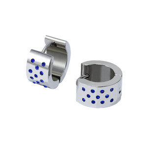Women's earrings rings with blue rhinestones from stainless steel Size: diameter 12 mm.