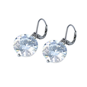 Women's surgical steel clip earrings with glittering stone. Dimensions: length 30 mm, circle diameter 11 mm.