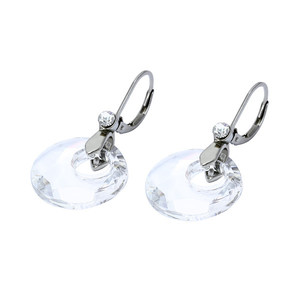 Women's Earrings Clips from Surgical Steel Clear Rhinestones. Dimensions: length 40 mm, circle diameter 25 mm.