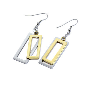 Double pads - combination of gold / silver. Dimensions: total length 6.5 cm, rectangle length 35 mm, width 17 mm.