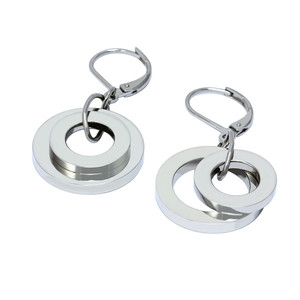 Padded women's earrings - smaller and larger ring, surgical steel. Dimensions: 40 mm long, 20 mm larger circle diameter.