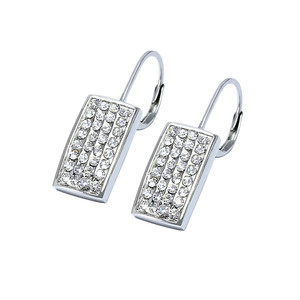 Ladies earrings of rectangular shape with rhinestones. Dimensions: length 28 mm, rectangle width 8 mm.