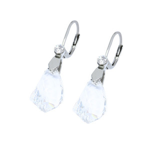 Ladies earrings cut, in clear color with stone. Material stainless steel. Dimensions: length 35 mm, width 10 mm.