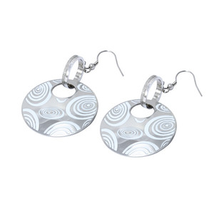 Drop earrings - circles decorated with white spirals. Dimensions: length 7 cm, diameter of large circle 36 mm.