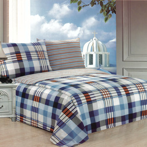 Cotton linen with checkered pattern on both sides with fine stripes. Each pack contains 1pc bedding 140x200cm, 1pc bedding