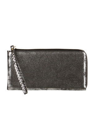 Women's metallic wallet with a handy loop. Zip fastening, inside the card compartment and a separate coin pocket.
