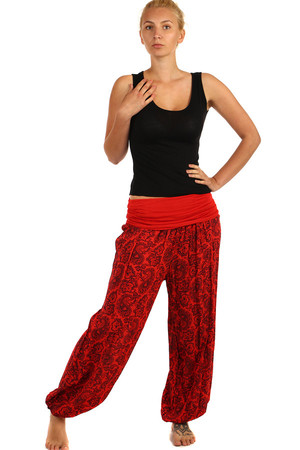 Very comfortable ladies patterned harem pants with rubber at the ankle. Material: 100% viscose Import: Italy