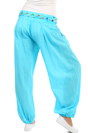 Comfortable loose women's pants - harem with decorative belt and buttons. Material: 95% cotton, 5% elastane. Import: