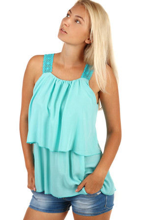 Women's lightweight airy top with lace straps. Thanks to free cut suitable for full-bodied figure. Material: 98% viscose,