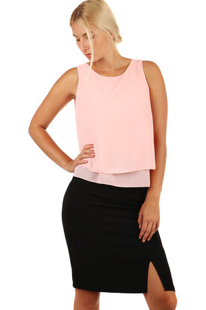 Women's one-color, free top with extended back. Material: 95% polyester, 5% elastane Import: Italy