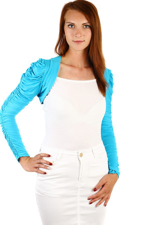 Women's bolero with long folded sleeves. Material: 95% cotton, 5% elastane