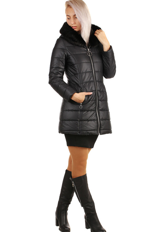 Black ladies quilted jacket longer cut