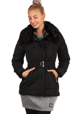 Women's winter jacket with decorative buttons and belt. Suitable for city / leisure. Zip fastening and buttons.