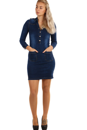 Dark blue women's denim dress with distinctive pockets and long sleeves. Material: 98% cotton, 2% elastane.