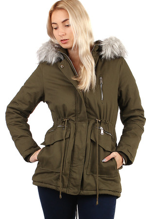 Women's winter jacket - parka with fur. Zip fastening. Extended back. Suitable for city / leisure. removable hood with