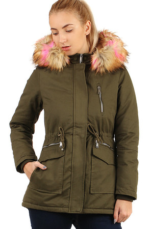 Winter women's jacket - parka with basket and colored hood. Zip fastening. Suitable for city / leisure. plush lining