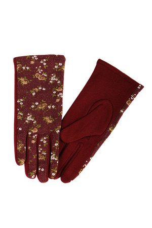 Original women's gloves with floral print. Fleece inside. Material: 70% cotton, 30% nylon
