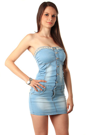 Romantic jeans dress, buttoning in front. In the upper part decorated with rhinestones with lace. Material: 71% cotton 18%
