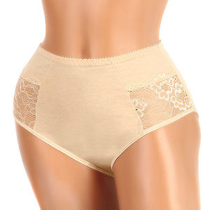 Lace cotton panties - high waist. Material: 95% cotton, 5% elastane.