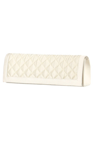 Shiny ball clutch bag with decorative stitching. magnet closing inside a small pocket detachable chain strap detachable strap