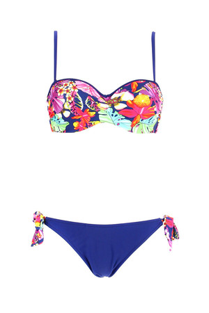 Women's bikini with brightly colored top. The cups are reinforced and have bones. The straps are adjustable / detachable.