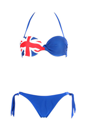 Women's two piece swimsuit - blue with British flag. Neck and neck binders. Material: 82% polyamide, 18% elastane