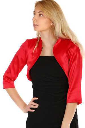 Elegant women's 3/4 sleeve bolero. Nice satin material. Without closing. The sleeves are looser. Up to size 52- suitable