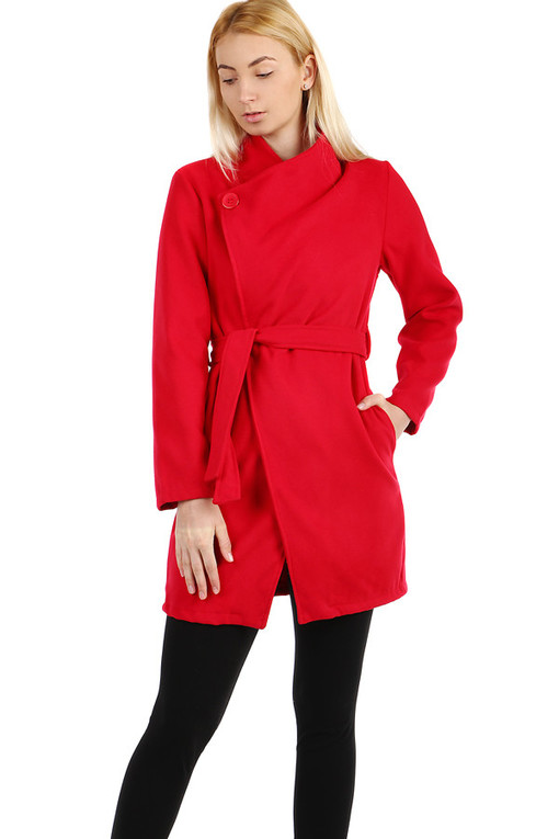 Fleece ladies coat with belt