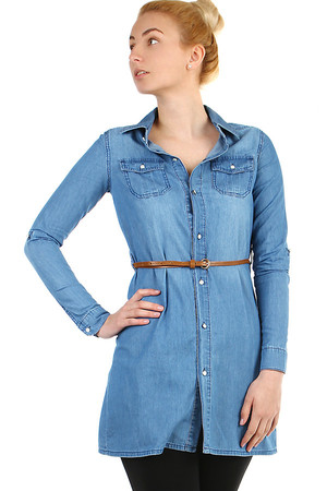 Women's extended denim blouse with belt. Button fastening. Suitable for spring / summer. Up to 3XL size - suitable for