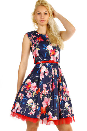 Short women's floral dress with red belt. Zip fastening. Up to size 46 - suitable for a full-bodied figure. Undershirt is