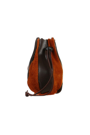 Small genuine leather pouch, handmade. The pouch can be pulled out with a leather cord - separate or completed with a plastic