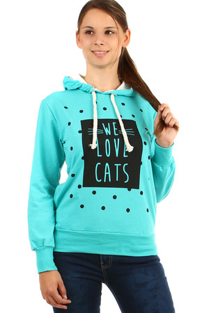 Hooded sweatshirt and the inscription We love cats. Material: 95% cotton, 5% elastane.