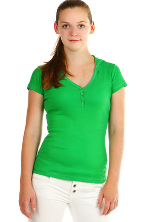 Women's ribbed T-shirt with short sleeves and hood. Buttons in neckline. Material: 80% cotton, 20% polyester