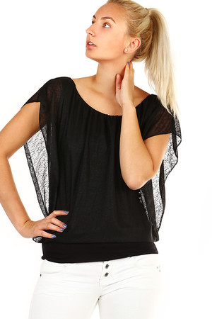 Women's Single Color Free Top with Bat Sleeves. The neckline can be adjusted as needed thanks to sewn rubber. Material: