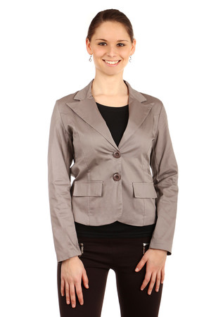 Elegant women's classic style jacket with two button fastening. The back is made of fine lace. Import: Italy Material: