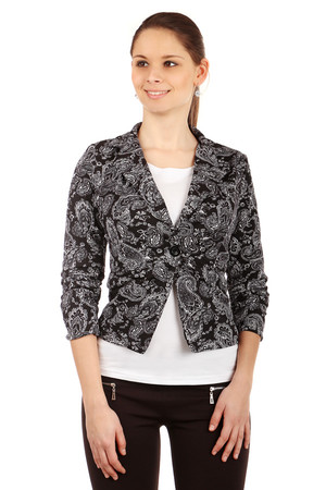 Women's elegant jacket for one button and with a modern motif. 3/4 sleeve ends are slightly gathered. Import: Italy