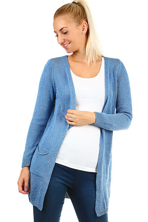Women's single-colored knitted cardigan with pockets and long sleeves. Without closing. Material: 50% cotton, 50% acrylic.